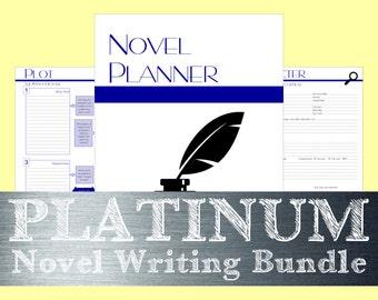 v2.0 Platinum Bundle Novel Writing Worksheets - Iconic Navy - PDF Printable - Instant Download - 8.5x11 and A4