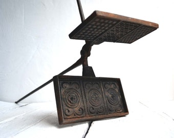 Large Antique French Cast Iron Stove Top Waffle Iron 1800s