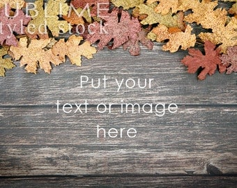 Styled Stock Photography / Wood Background / Fall Leaves / Fall Background / Digital Background / Social Media Stock / StockStyle-754