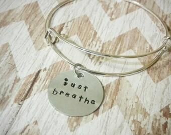 Semicolon bracelet Just breathe semicolon awareness jewelry survivor semicolon bracelet suicide awareness mental illness awareness