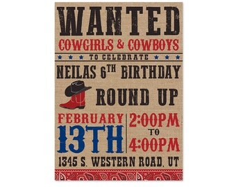 Wanted Cowboy and Cowgirl Birthday Invitation - 5x7 Digital Download
