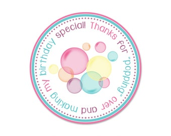 Bubble Birthday Party Favor Tags - Instant Download