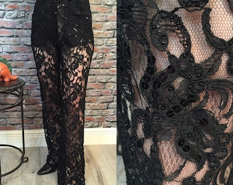 Vintage DKNY Black Lace And Sequin Bell Bottom Pants   Size 4/6