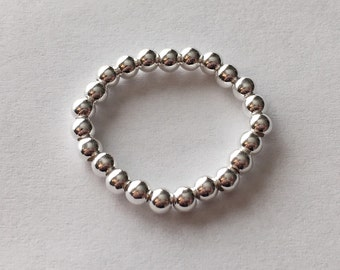 Sterling silver elastic 3mm beaded stack stacking ring UK size L-O