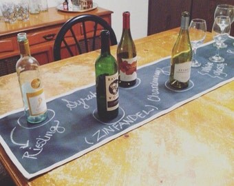 Chalkboard Table Runner with Fabric Border • Wine and Cheese Buffet • Dinner Party Props • Tableware • Table Linens • Wine Pairing • Buffet