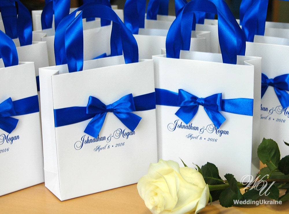 What Gift For Wedding: Royal Blue Wedding Gift Bags With Satin Ribbon Bow And Names