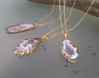 Agate Druzy Necklace/Druzy Necklace/Druzy Slice/Satellite Chain/Geode Druzy Agate Geode Necklace/Gemstone/Geode Necklace/Agate