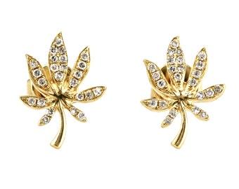 0.13ct Round Pavé Diamonds in 14K Yellow Gold Cannabis Leaf Stud Earrings - CUSTOM MADE