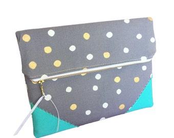 Gold wedding clutch, Gold on grey,  bridesmaid gift, gold spots, wedding accessories, bridal clutch, gold wedding, fold over clutch