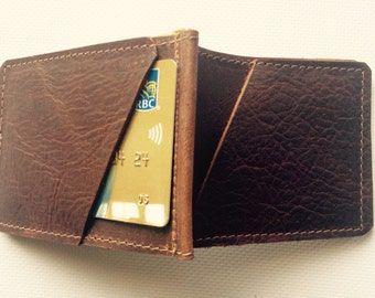 Leather money clip, money  clip wallet, distressed leather money clip, leather wallet, made in PEI