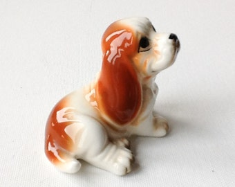 Vintage Ceramic Dog Figurine, Basset Hound Figure, Brown and White Bone China Puppy Figurine, Taiwan Foil Label, 00886