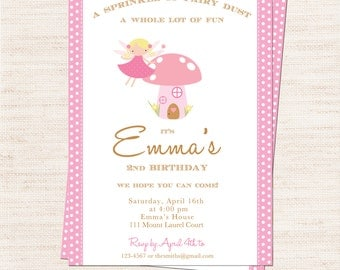 Pink Fairy Birthday Party Invitation | Pink Fairy Invitation Printable | Girl Birthday | Gracie Lee Design