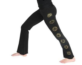 Chakra Yoga Pants - Lightweight 7 Chakra Yoga Pants- Boot Cut Flare- LPB1 - Black