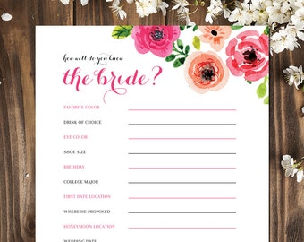 Bridal Shower | Bridal Shower Games | Bridal Shower Games Printable | How Well Do You Know the Bride | INSTANT DOWNLOAD GAME!