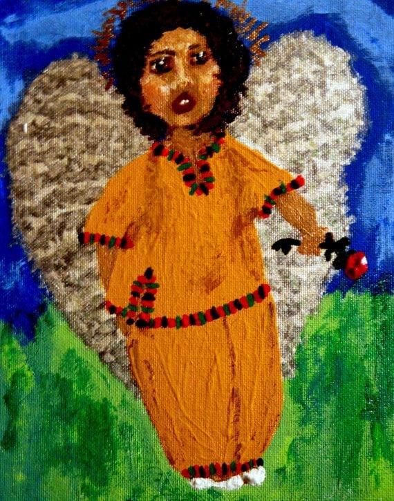 "Angel Boy Painting acrylic on 10x8"" framed canvas panel, THE ANGEL HERBIE, Ethnic Folk Art, children black angel, African American Art"