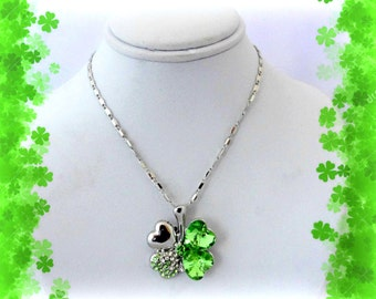 50% SALE St Patricks Day Gift..Shamrock Necklace..4 Leaf Clover Necklace..Four Leaf Clover Necklace..Lucky Charm Necklace..Shamrock Jewelry
