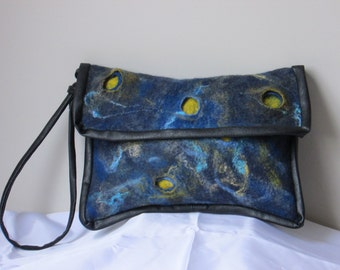 Nuno felted blue handbag, clutch bag