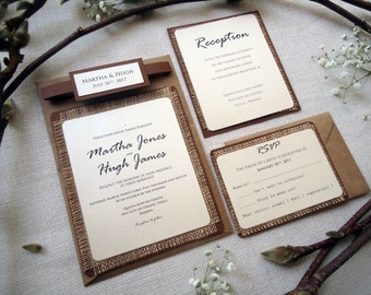 Rustic Wedding Invitation Burlap Invitation Custom Invitation Country Wedding Invitation Simple Invitation