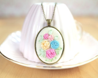 Embroidered Necklace Pendant Colorful Pastel Silk Ribbon Flowers Embroidery on Silk Girlfriend Gift