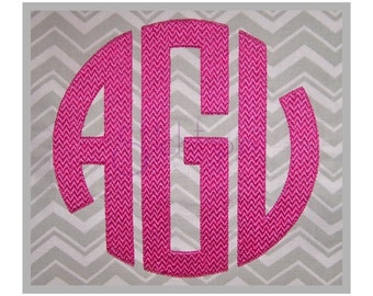 "Circle Monogram Embroidery Font Set 3.5"" 4"" 4.5"" 5"" 5.5"" Left Center Right Machine Embroidery Fonts Circle Embroidery Font Instant Download"