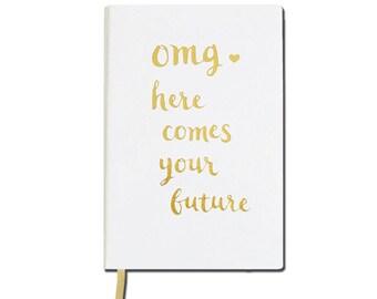 Gold Foil Wedding Notebook /Gold Foil Journal /Funny Journal Gift Friend /Gold Foil Baby Shower Gift/Gold Foil Bullet Journal/Funny Notebook
