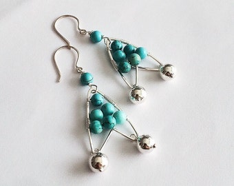 Sterling silver wire wrapped turquoise beads dangling earrings with sterling silver beads
