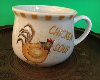 Retro Chicken Soup Mug Vintage Soup Bowl with Handle Yellow, Orange and Brown Cottage Chic Decor