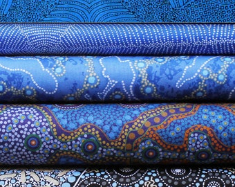 Quilters Fat Quarter Bundle of 5 - Australian Aboriginal Art Fabrics  - BLUE #2