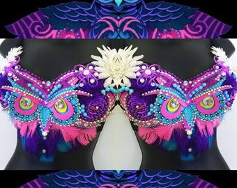 EDC Electric Owl Bra (LED lights): rave wear, festival, edm, rave bra, halloween, carnival, kandi, plur, coachella, NYE, rainbow, edc