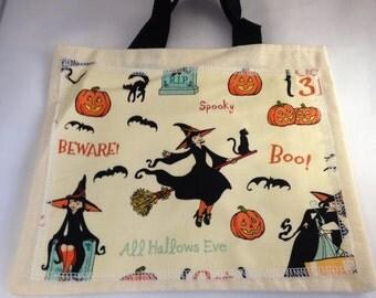 Trick or treat bag, Halloween bag, Halloween tote, candy bag, childs bag, gift bag