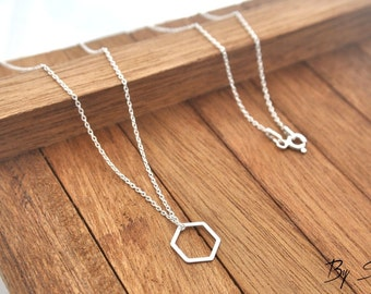 Sterling Silver hexagon Necklace, hexagon Pendant, hexagon Necklace, hexagon Chain, Silver hexagon, geometry, geometric Dainty Necklace