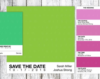 Pantone Color Swatch Printable Wedding Invitations (Color, Colorful, Paint, Design, Artistic Invite)