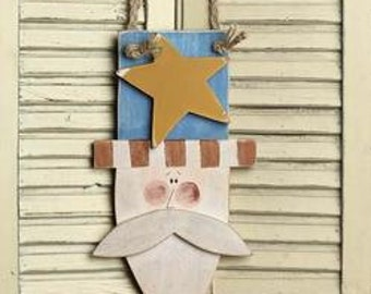 "11"" Primitive Wood Uncle Sam Plaque / Wreath Embellishment/Patriotic decor/Wall hanging"