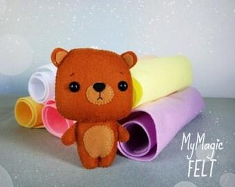 Ornament felt bear cute toy woodland nursery decor brown bear cute woodland felt ornament animals little bear
