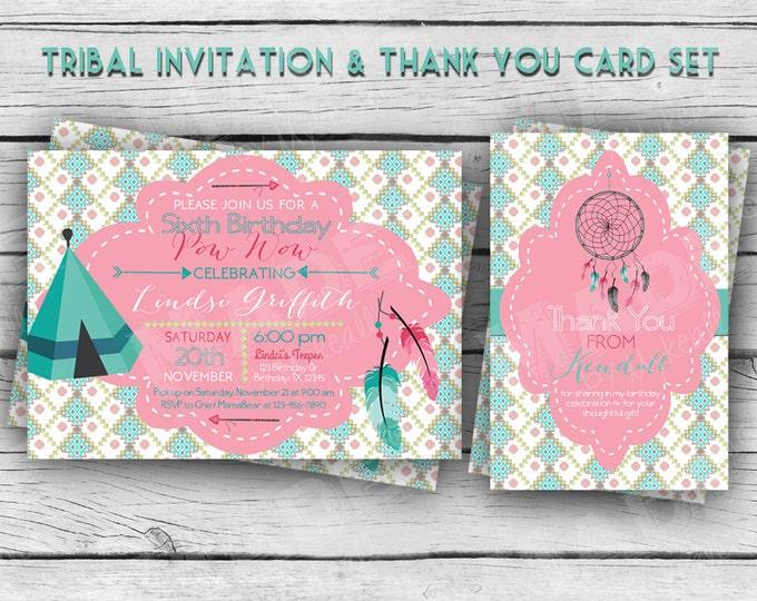 TRIBAL BIRTHDAY Invitation & Thank You, Girl Birthday, Boy Birthday, Party, Indian, Printable Stationery, Digital