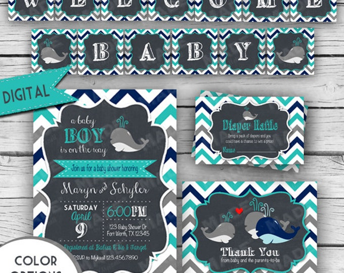 Digital NAUTICAL BABY SHOWER Set, Whale Baby Shower Invitation Set, Girl Baby Shower, Boy Baby Shower, Free Banner, Party, Stationery