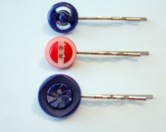 Red White & Blue Vintage Button Bobby Pins set of 3