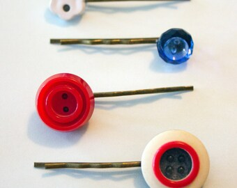Red White & Blue Vintage Button Bobby Pins set of 4