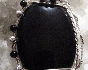 Wire Wrapped Pendant - Black Onyx with Bead Accents in Argentium Sterling Silver Pendant