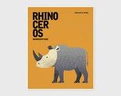 RHINOCEROS, Nursery Wall Art, Wildlife of Africa, Animal Nursery Art, Kids Poster, Nursery Decor, Wall Art Prints, Retro Print