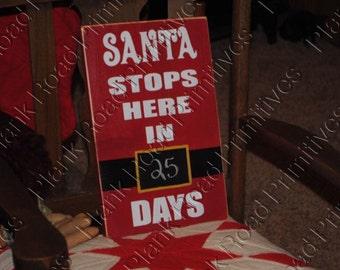 "STENCIL, Santa Stops Here, Countdown Chalkboard, 8""x12"", Christmas Stencil, Holiday Stencil, Reusable Stencil, Mylar, NOT A SIGN"
