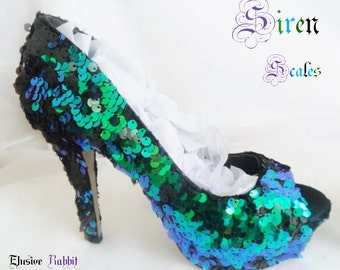 Siren Scales Mermaid Reversible Sequin Fabric Heels Custom Personalized Womens Shoe High Stiletto Size 3 4 5 6 7 8 Platform Party Christmas