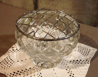 Vintage lead crystal rose bowl