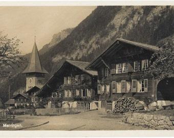 Meiringen, Switzerland, ca. 1920s, Vintage Unused Real Photo Swiss Postcard