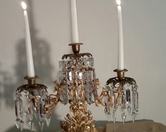 Antique 1800 ' s girandole  gilt brass crystal candle holder