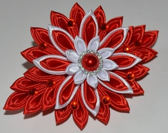 Handmade Girl's/Ladies French Barrette Hair Clip, Kanzashi Style, Party/Wedding, Red/White