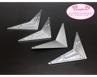 4 large connectors silver Chevron Triangle Boomerang 82mm