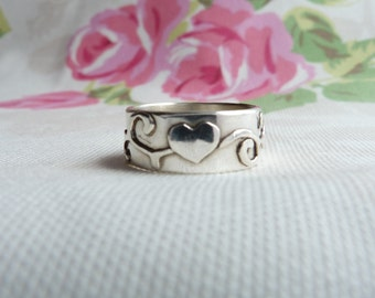 Heart Ring, Wide Band Heart and Scroll Ring, Sterling Silver Wide Band Ring, Wedding Band, Stacking Ring. Hallmarked OOAK, Size S