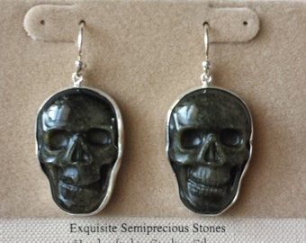 Obsidian skull earrings