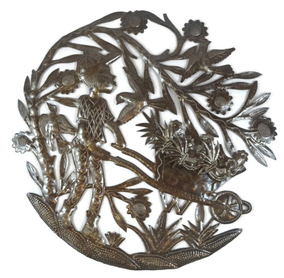 "Chicken Farmer, Haiti Metal Wall Art 23"" x 23"""